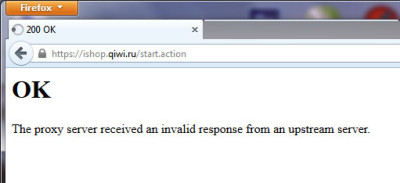 OK  The proxy server received an invalid response from an upstream server.